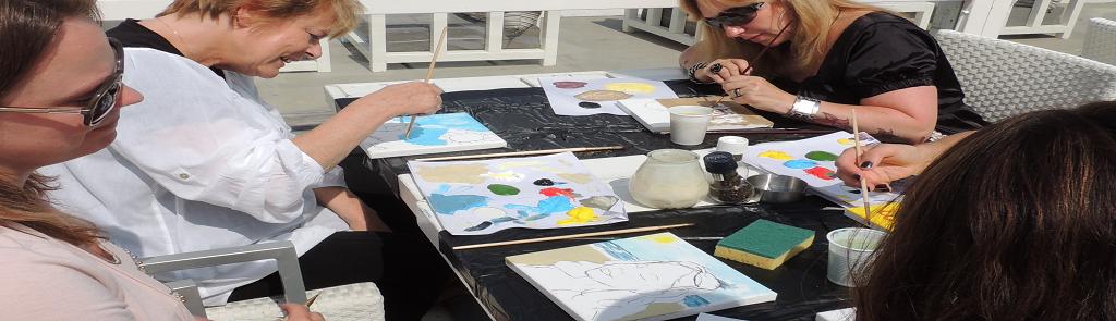 Workshop schilderen strand bedrijfsuitje Scheveningen Flitz-events